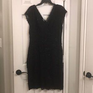 MARINA Beaded Lace Cocktail Dress
